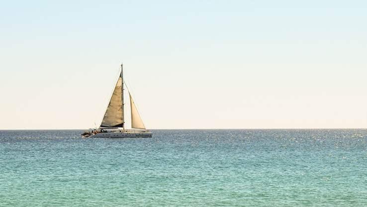 A sailing boat on the sea